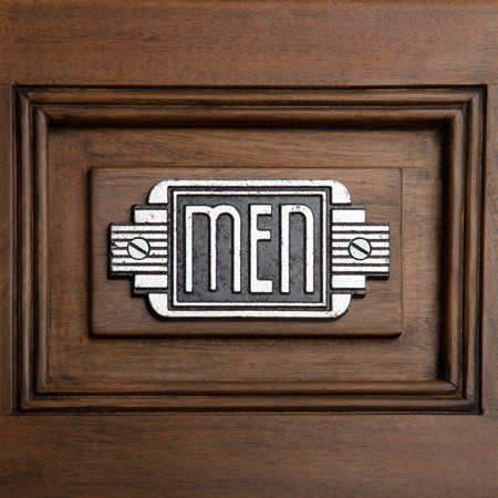 Design Toscano Streamlined Art Deco Cast Iron Men's Room Door - Art Deco Door