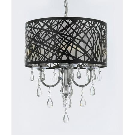 Indoor 4 Light Chrome & Crystal Chandelier Pendant Modern -