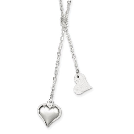 Fancy Puffed Heart - Sterling Silver Polished & Textured Puffed Heart Fancy Drop Necklace