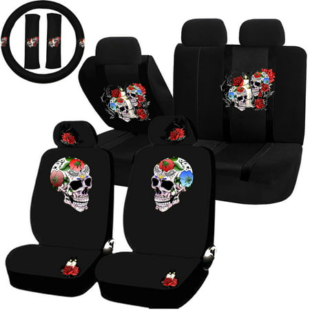 22PC Till Death Skull Red Rose Black Seat Covers & Steering Wheel Set Universal Car Truck SUV ()