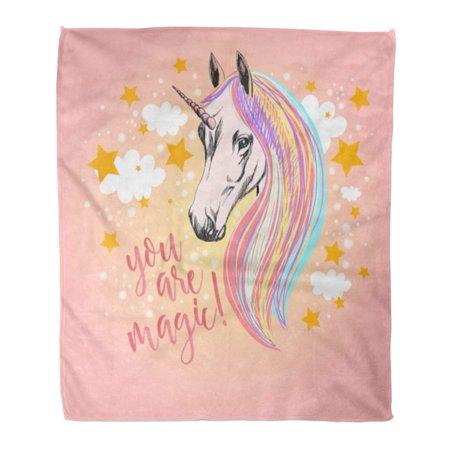 ASHLEIGH Flannel Throw Blanket Rainbow You are Magic Unicorn on Stars and Clouds Believe Big 58x80 Inch Lightweight Cozy Plush Fluffy Warm Fuzzy Soft ()