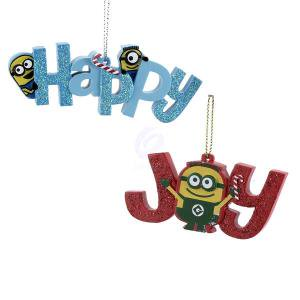 Despicable Me 1 Set 2 Assorted Happy Joy Minion Christmas - Minions Christmas Decorations