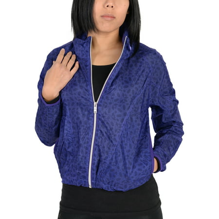 Adidas Womens Pattern Lightweight Windbreaker Jacket Indigo ()