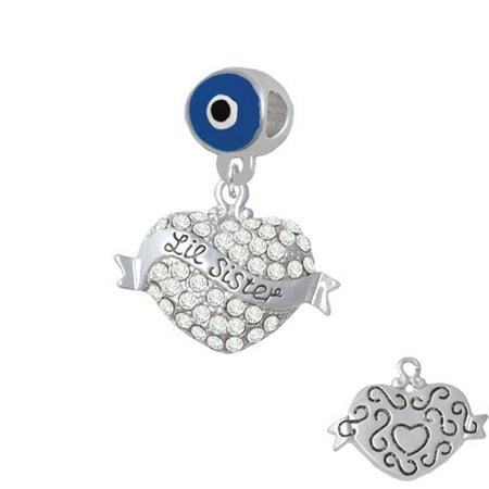 Lil Sister Banner on Clear Crystal Heart - Blue Evil Eye Charm Bead