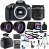 Canon EOS 1300D/T6 18MP DSLR Camera + 18-55mm Lens + 16GB Accessory Kit Canon EOS 1300D 18MP Digital SLR Camera (Black) + 18-55mm lens + 58mm 3pc Filter Kit + UV Filter + Telephoto & Wide Angle Lens + 16GB Memory Card + Wallet + Card Reader + Lens Pen + Hand Grip + Gadget Bag + Cleaning Kit + Tall Tripod + Small Tripod