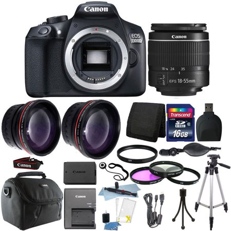 canon eos 1300d t6 18mp dslr camera 18 55mm lens 16gb accessory kit. Black Bedroom Furniture Sets. Home Design Ideas