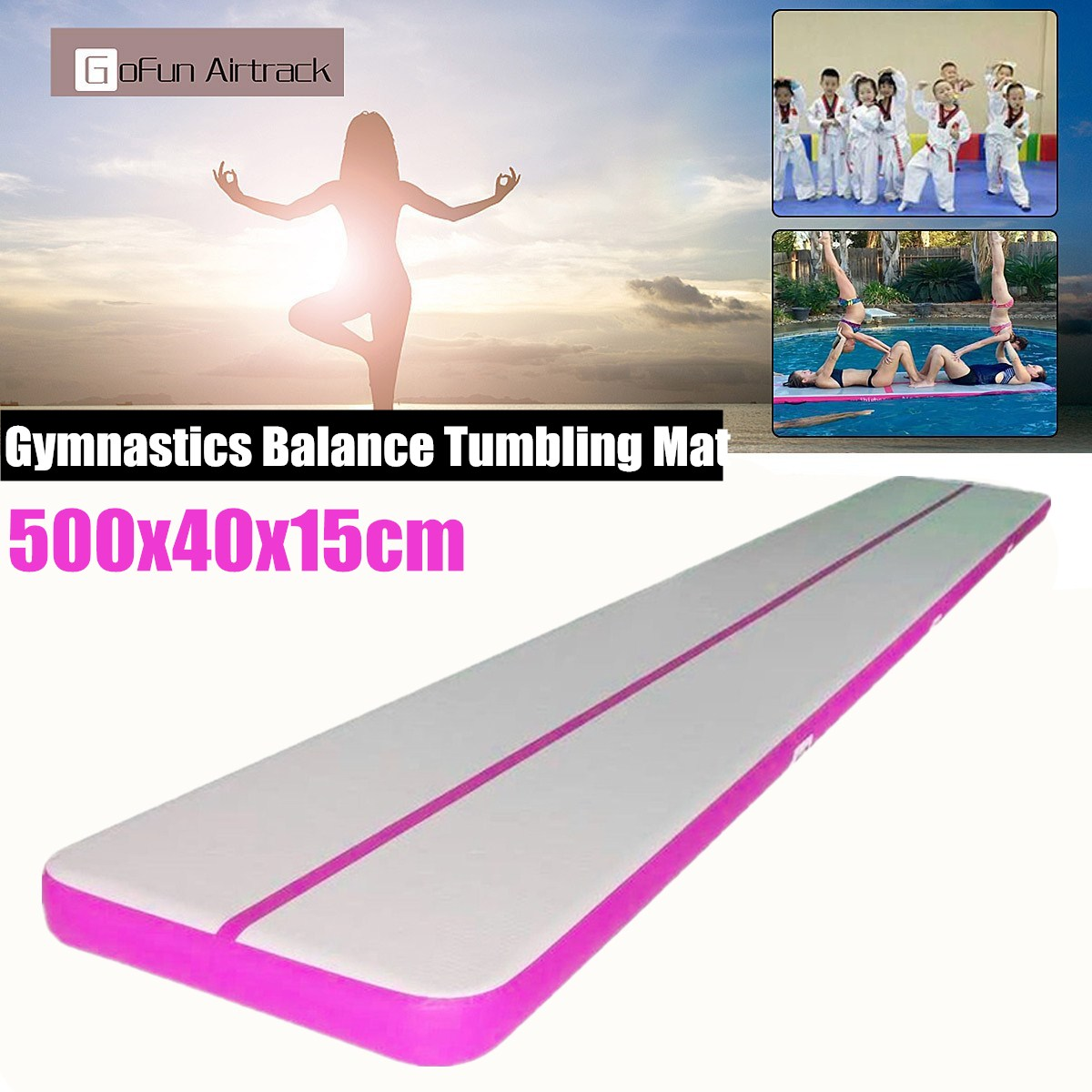 1Pcs 10ft/16.4ft Inflatable Gymnastics Tumbling Mats Air Track Floor Airtrack Tumbling Yoga Mat Practice Training Pad For Home Use, Gymnastics