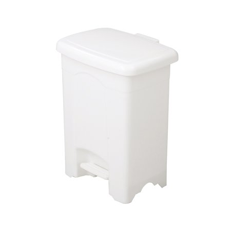 Outdoor Trash Receptacle - Lot of 32 Outdoor 4-Gallon Capacity Plastic Step-On White Receptacle Trash Can-9710WH