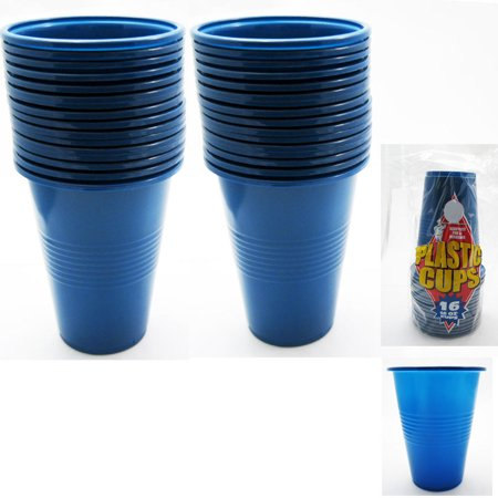 Blue Large Plastic Cups 16 Oz Reusable Big Party Disposable Hard Holiday 16 pcs