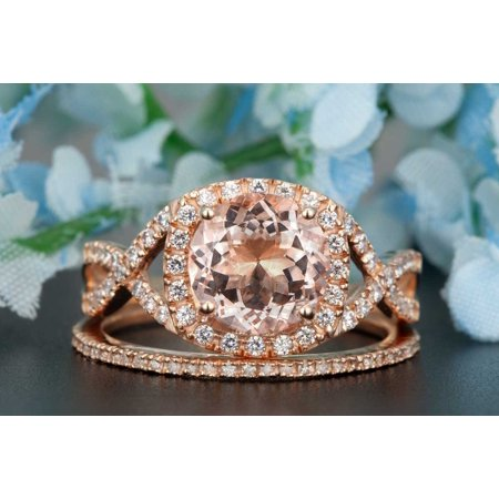 1.50 Carat Round Cut Peach Morganite and Diamond Wedding Ring Set in Rose Gold Stunning Ring (Peach And Gold Wedding)