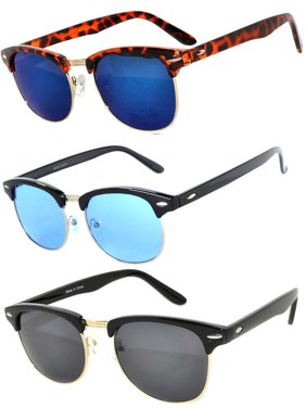 11fc3de02ed Product Image Half Frame Black Leopard Gold Silver Sunglasses Blue Smoke  GRD Mirror Lens Fashion Retro Uv Protection