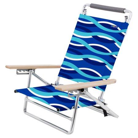 Copa 5-Position Lay-Flat Aluminum Beach Chair with Wooden Arms Layflat Beach Chair