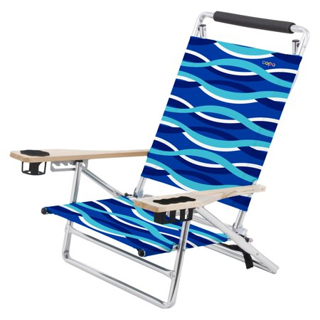 Copa 5 Position Lay Flat Aluminum Beach Chair With Wooden Arms