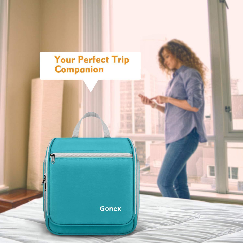 Water Resistant Travel Toiletry Organizer Cylinder Makeup Bag for Men /& Women with Built-in Hook Deep Blue Gonex Hanging Toiletry Bag