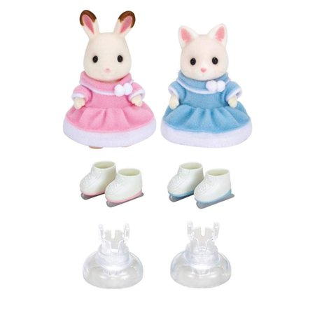 Ice Skating Friends, Includes 2 ice skaters; Bell Hopscotch Rabbit & Susie Silk Cat in fluffy dresses By Calico Critters