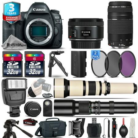 Canon EOS 5D Mark IV Camera + 50mm STM + 75-300mm III+ 2yr Warranty - 64GB Kit