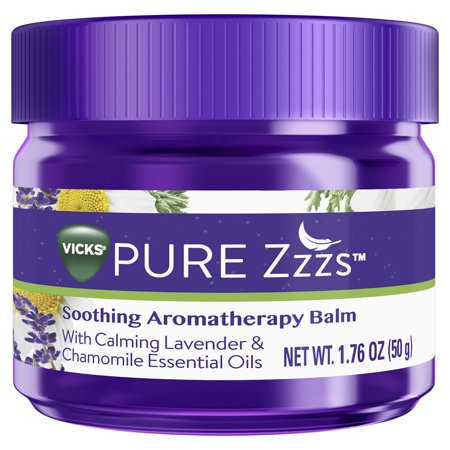 Balm Lavender - Vicks PURE Zzzs Soothing Aromatherapy Balm with Calming Lavender & Chamomile Essential Oils, 1.76 oz