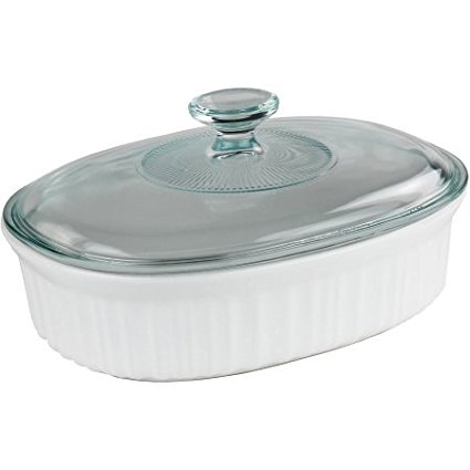 French White 1.5-Quart Oval Baking Dish with Glass Lid, B...