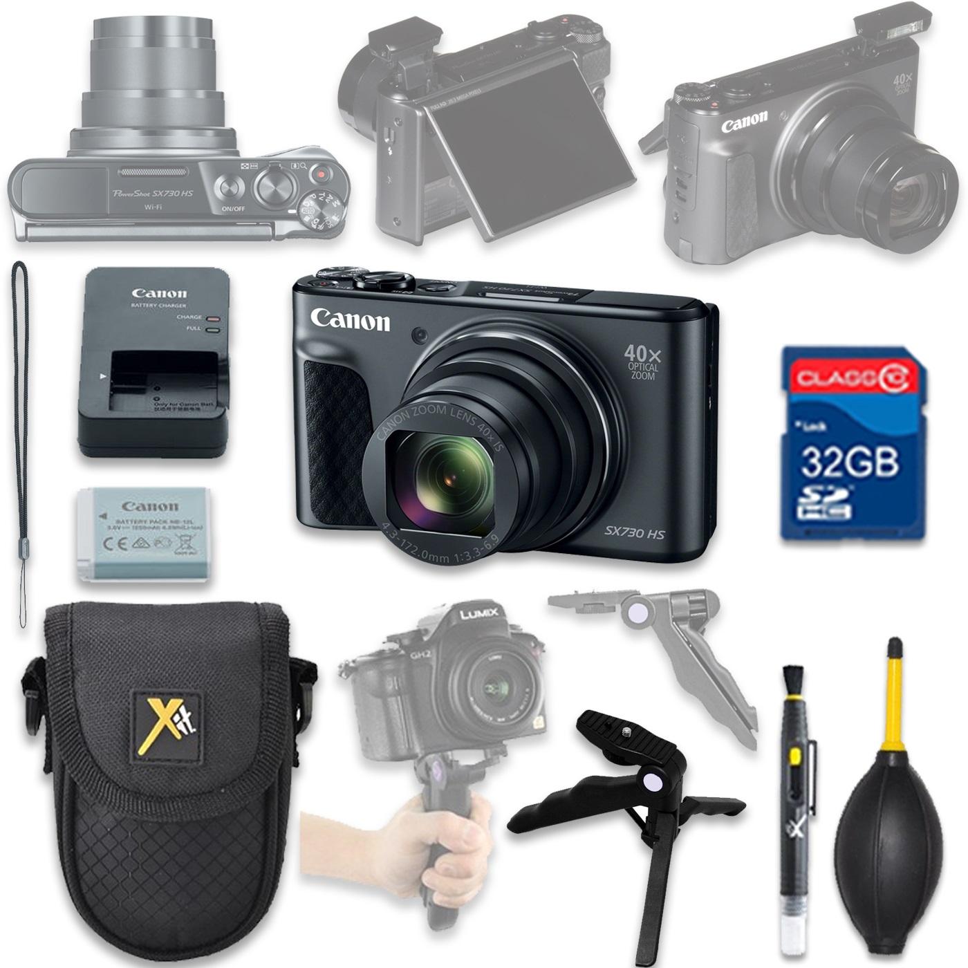 Canon PowerShot SX730 HS Digital Camera(black) with 32GB SD Memory Card + Accessory Bundle