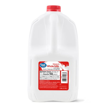 Great Value Whole Milk, 1 Gallon, 128 Fl  Oz