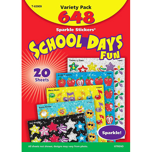 Trend School Days Sparkle Sticker Variety Pack, Assorted Colors, Set of 648