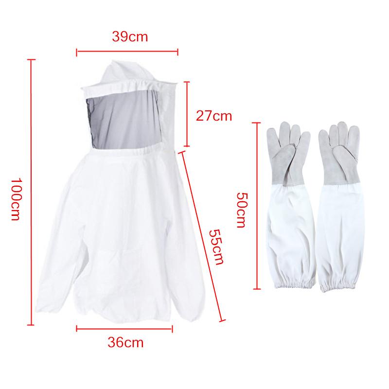 Long Sleeve Gloves Beekeeping Jacket Suit Outfit w// Protective Veil Smock Hood
