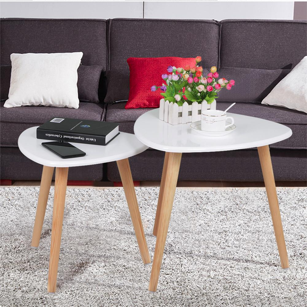 Topeakmart Set Of 2 Modern White Gloss Triangle Top Nesting Tables Living  Room Side End Tables