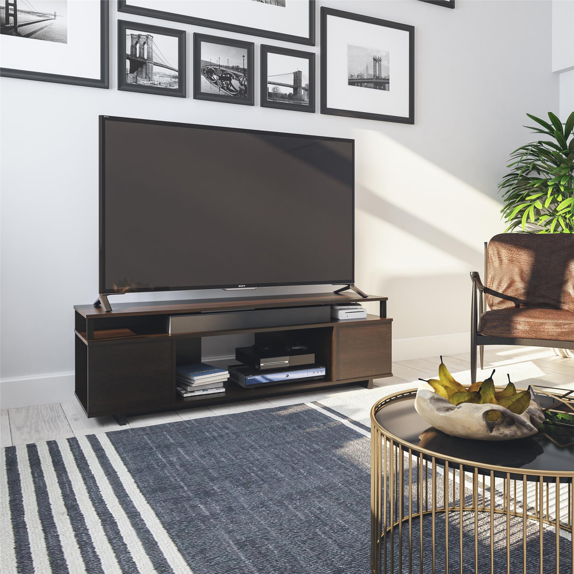 Ameriwood Home Kensington Place Tv Stand For Tvs Up To 65 Espresso Walmart Com Walmart Com