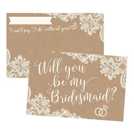 Print Your Own Invitations (15 Will You Be My Bridesmaid Cards Kraft Lace, I Can't Say I Do Without You, Rustic Bridesmaids Proposal Note For Gifts, Blank Ask To Be Your Bridesmaids Invitations Set,)