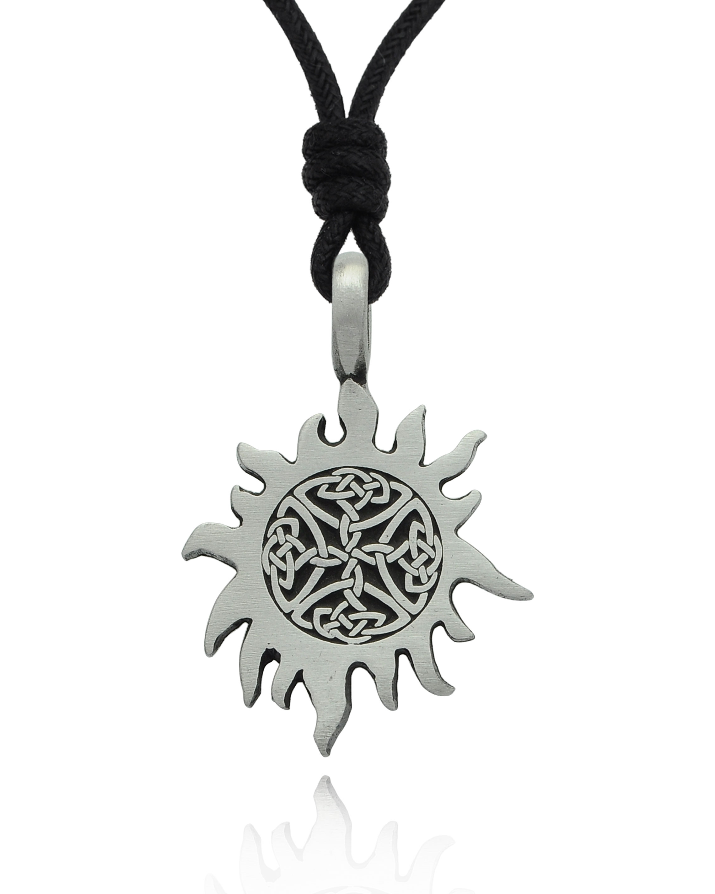 Celtic Cross Necklace Black Cord Tribal Pewter Pendant Rope Knot Mens Womens