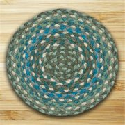 Earth Rugs 46-419 Round Miniature Swatch, Sage, Ivory and Settlers Blue