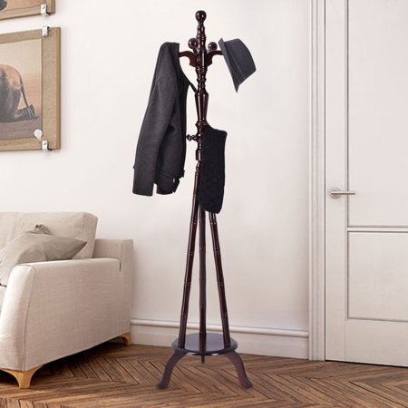 Wood Hat Stand (Costway 73'' Free Standing Solid Wood Coat Hat Purse Hanger Tree Stand Rack)