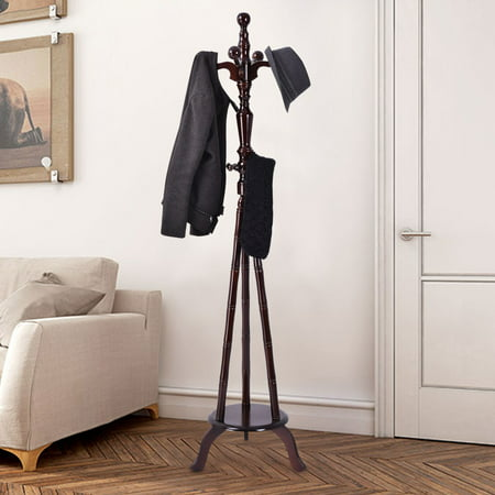 Tree Coat Hat Rack Stand - Costway 73'' Free Standing Solid Wood Coat Hat Purse Hanger Tree Stand Rack Furniture