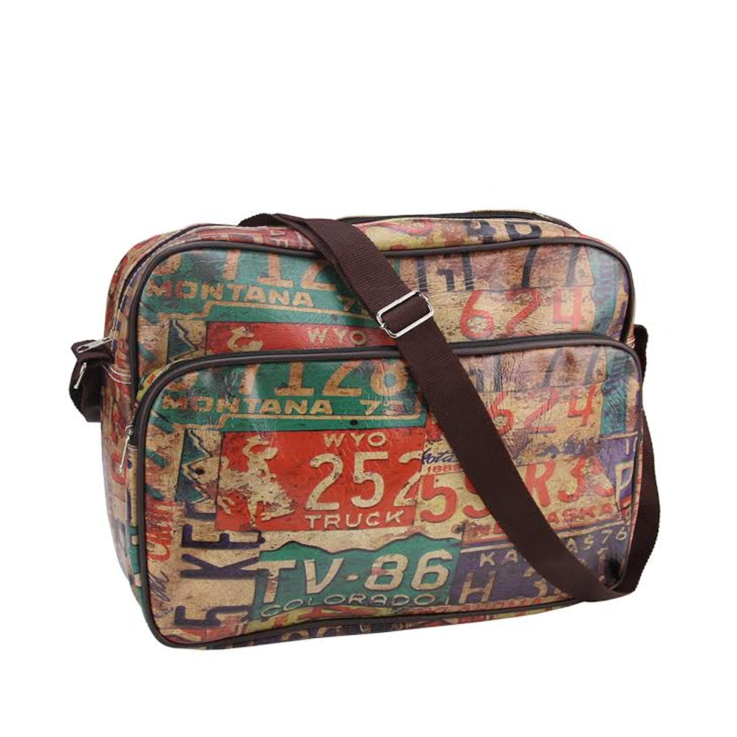 "15"" Decorative Vintage-Style License Plate Design Crossbody Bag/Purse with Strap"
