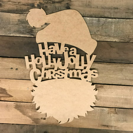 Jolly Santa Head Wood DIY (MDF) Cutout - Unfinished DIY Craft](Santa Cutouts)
