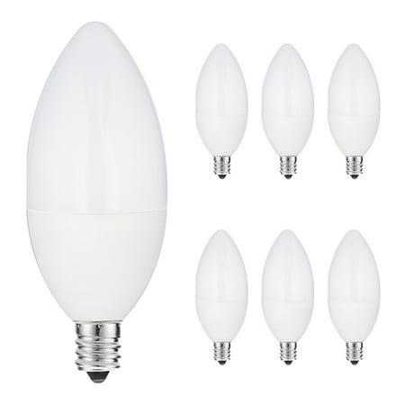LED Candelabra Bulb 60W Equivalent, E12 Candelabra LED Bulbs Not Dimmable, Daylight 5000K 120V LED, 6W E12 Base 550LM Kitchen Light for Home Bulb, Ceiling Fan Lights, Chandelier Lighting, 6 Pack