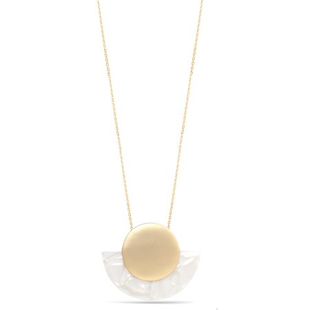 TAZZA WOMEN'S SEMI CIRCLE IVORY ACETATE RESIN GOLD CIRCLE PENDANT (Chain Navy Necklace)