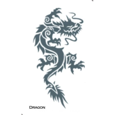 Flame Dragon Temporary Tattoo (Tinsley Transfers Tribal Dragon Tribal Temporary Tattoo FX, Black)