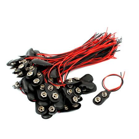 60 pcs 15cm Longueur de cable en plastique noir 9V Batterie Boucles agrafes des connecteurs de type T - image 2 de 2