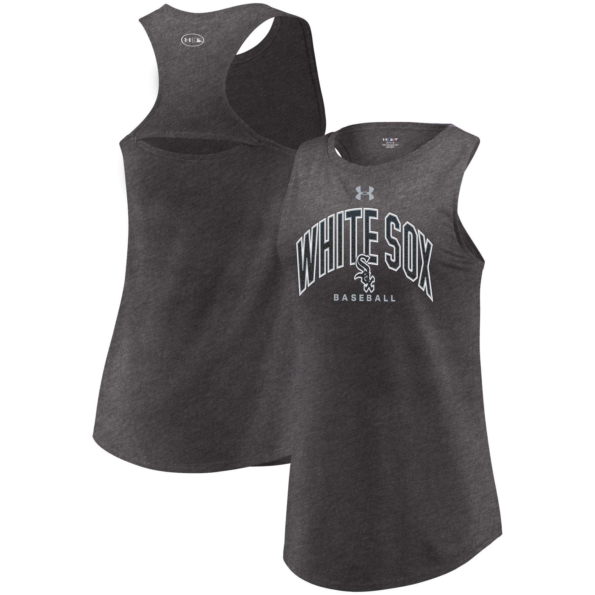 Chicago White Sox Under Armour Women's Passion Reflective Arch Tri-Blend Tank Top - Heathered Charcoal