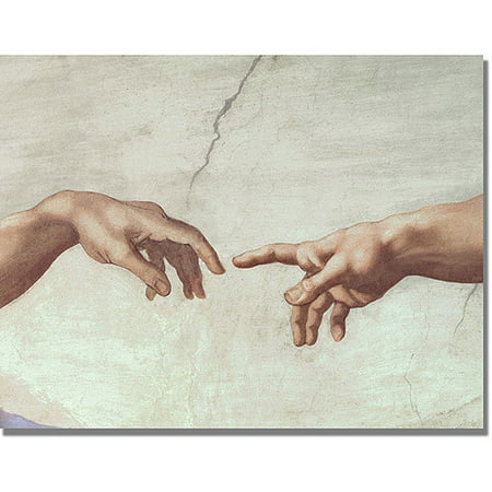Trademark Fine Art   Hands Of God   Canvas Wall Art By Michelangelo