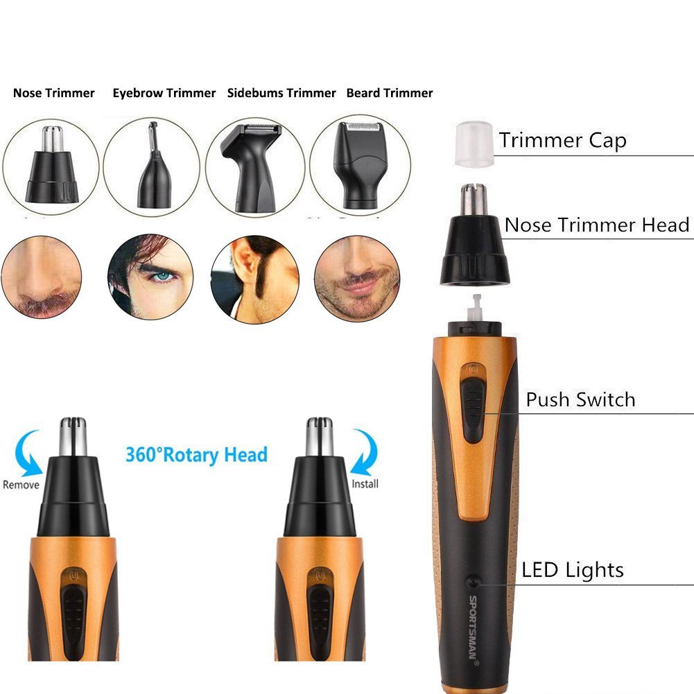 Rechargeable Mens Nose Ear Temple Hair Trimmer Beard Shaver Clipper Grooming Kit-4 In 1?US Plug?