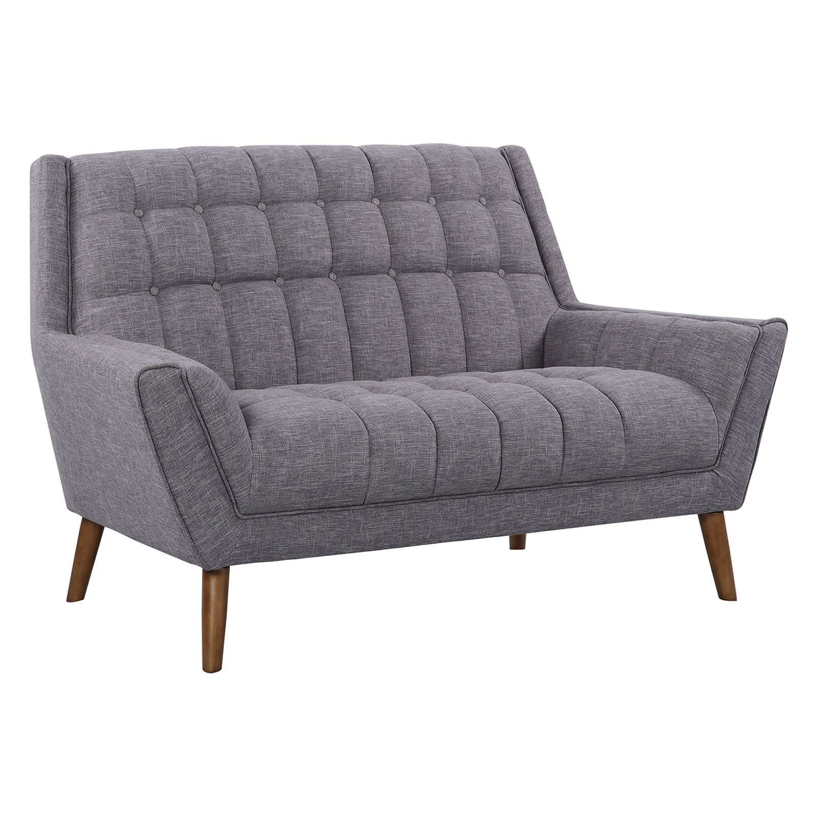 Armen Living Cobra Mid-Century Modern Loveseat with Linen and Walnut Legs