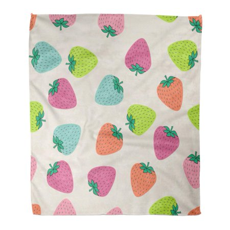 JSDART Flannel Throw Blanket Abstract Juicy Strawberries on Black Cute Bright Summer Fruits Soft for Bed Sofa and Couch 58x80 Inches - image 1 of 1
