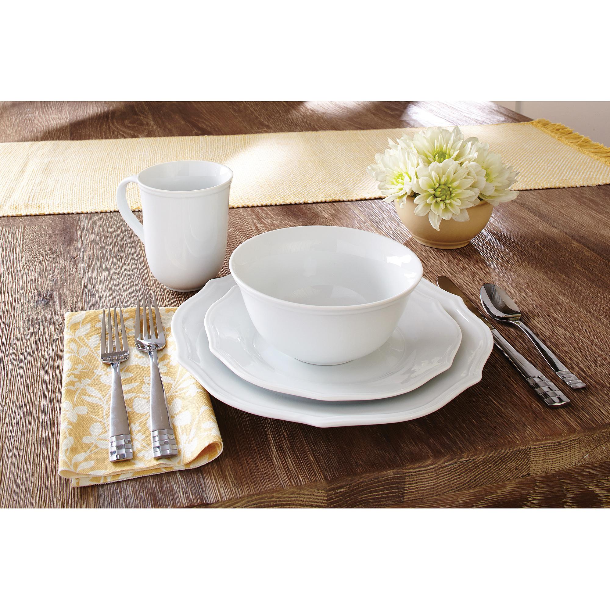 Better Homes & Gardens 16-Piece Scalloped Porcelain Dinnerware Set, White