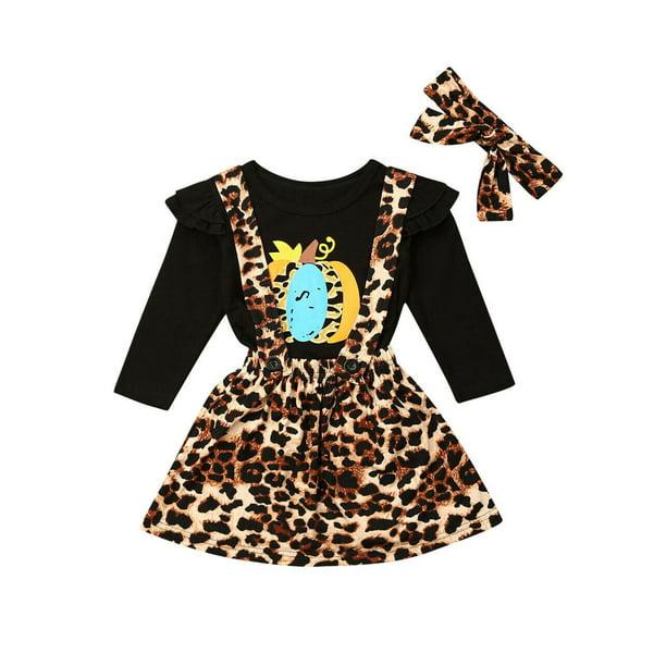 Wsevypo Toddler Kids Baby Girl Halloween Clothes Tops Leopard Skirt Pants Outfits Set Walmart Com Walmart Com