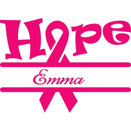 Breast Cancer Decor (Personalized Name Vinyl Decal Sticker Custom Initial Wall Art Personalization Decor Breast Cancer Survivor Pink Ribbon Hope 12 Inches X 18)