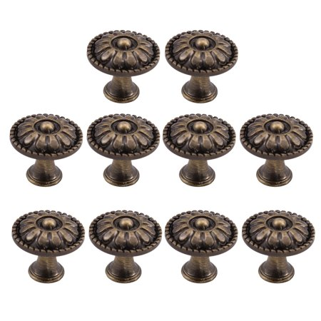 Zinc Alloy Knobs 24mm Metal Round Dresser Knobs Pull Handle for Home Kitchen Cupboard Cabinet Bronze Tone, 10pcs