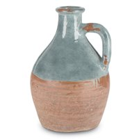 14-Inch Tall, 2-Toned Terracotta Jug with Shiny Blue Dipped Artisan Finish