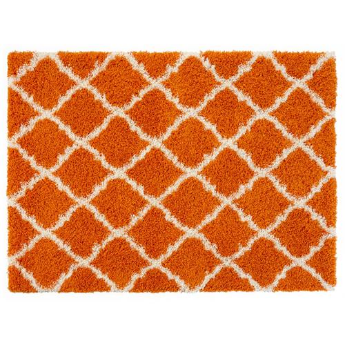 Ottomanson Ultimate Moroccan Trellis Soft Orange Shaggy Area Rug